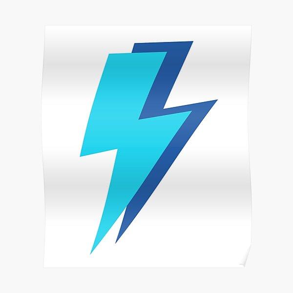Blue Lightning Bolts  Poster