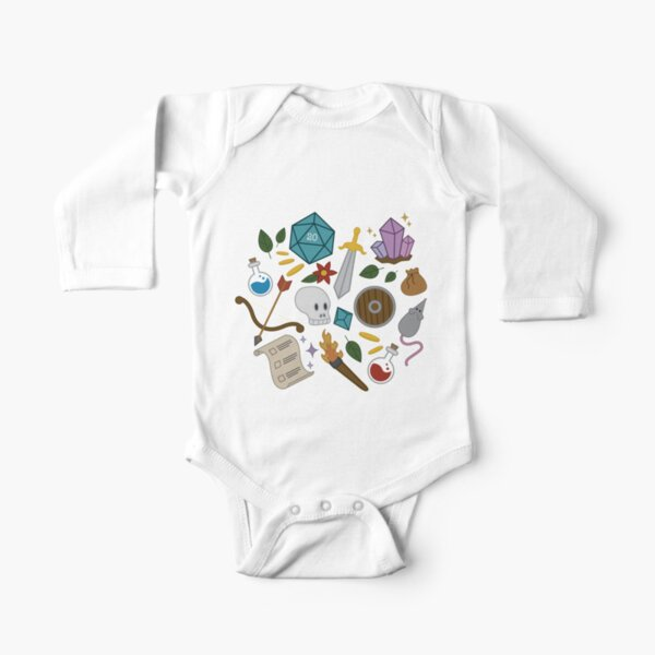 Dungeons and Dragons trinkets Long Sleeve Baby One-Piece