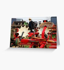 Amish Man and Farm Equipment Greeting Card