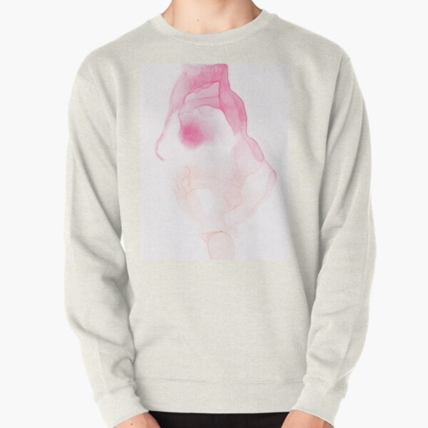 Peach and red Abstract Pullover Sweatshirt