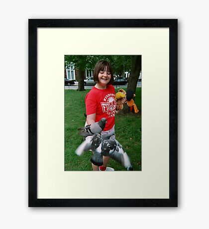 Two Pigeons In The Hand.... Framed Print