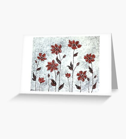 Sarah's Flowers - simplicity & a pop of red. Greeting Card