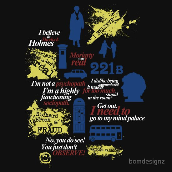 Sherlock Holmes quotes and much more, a t-shirt of uk