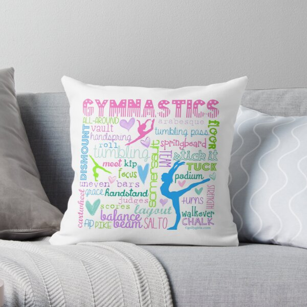 Gymnastics Typography in Pastels Throw Pillow