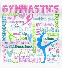 Gymnastics Typography in Pastels Poster