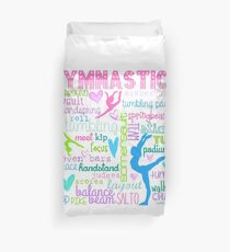 Gymnastics Typography in Pastels Duvet Cover