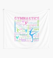 Gymnastics Typography in Pastels Wall Tapestry