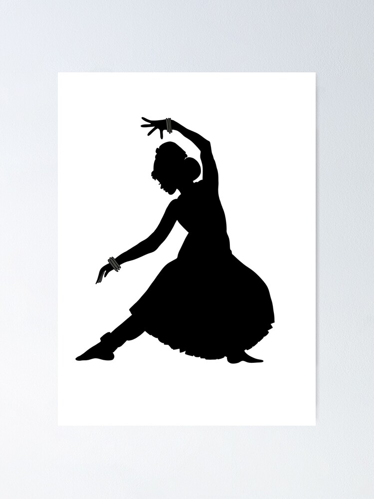 Classical Indian Dancer Silhouette Poster By Mahimam13 Redbubble