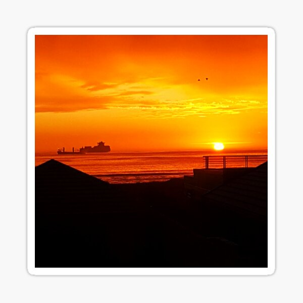 Spectacular sunset over Table Bay Sticker