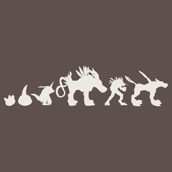 The Evolution Of Monsters 2 Dark Version A T Shirt Of Tv Television Evolution Anime Monsters Digimon Gabumon Digital Monsters Digivolution Garurumon Weregarurumon Metalgarurumon Tsunomon And Punimon Goodness