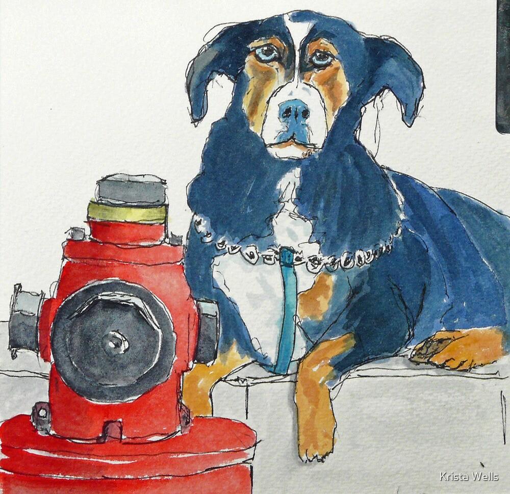Mafia dog guarding his fire hydrant by Krista Wells