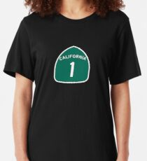 California Highway 1 T-Shirt - State Route One Road Sign Sticker PCH Slim Fit T-Shirt