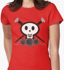 Knitting needles skull and yarn t-shirt Womens Fitted T-Shirt