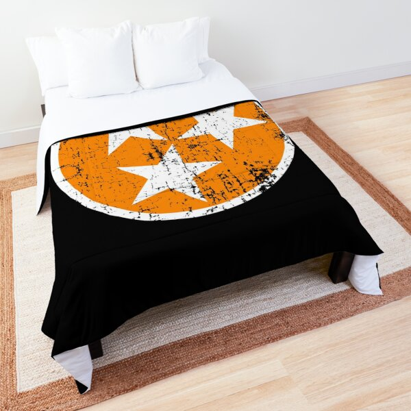 Tennessee Flag Orange and White Distressed Design Comforter