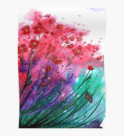 Flowers - Dancing Poppies Poster