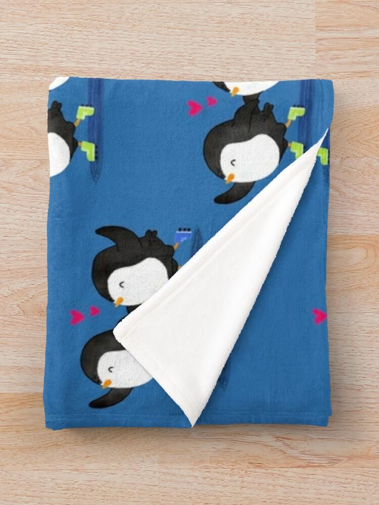 Alternate view of Penguins Having Fun Together Throw Blanket