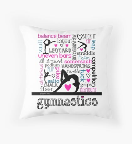 Gymnastics Tri-Color Typography Throw Pillow
