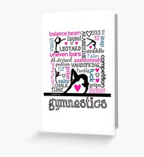 Gymnastics Tri-Color Typography Greeting Card