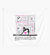 Gymnastics Tri-Color Typography Wall Tapestry