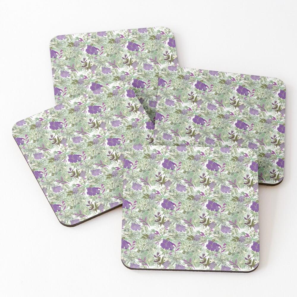 Purple flower Coasters (Set of 4)