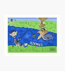 Binary Options Caricature - President Obama, President Ahmedinajad and the Strait of Hormuz Art Print