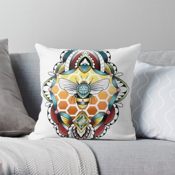 Bejeweled Bumblebee Geo Love Throw Pillow