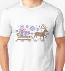 Knitted pattern reindeer  Unisex T-Shirt