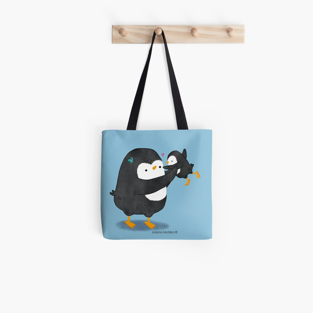 Penguin Mom and Penguin Kid Tote Bag