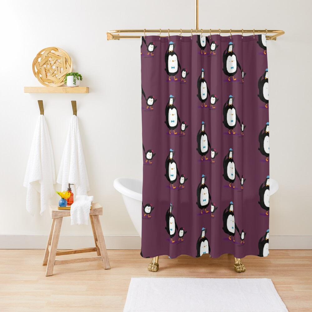 Dad Penguin with his daughter and son penguins Shower Curtain