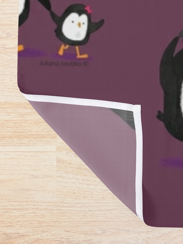Alternate view of Dad Penguin with his daughter and son penguins Shower Curtain