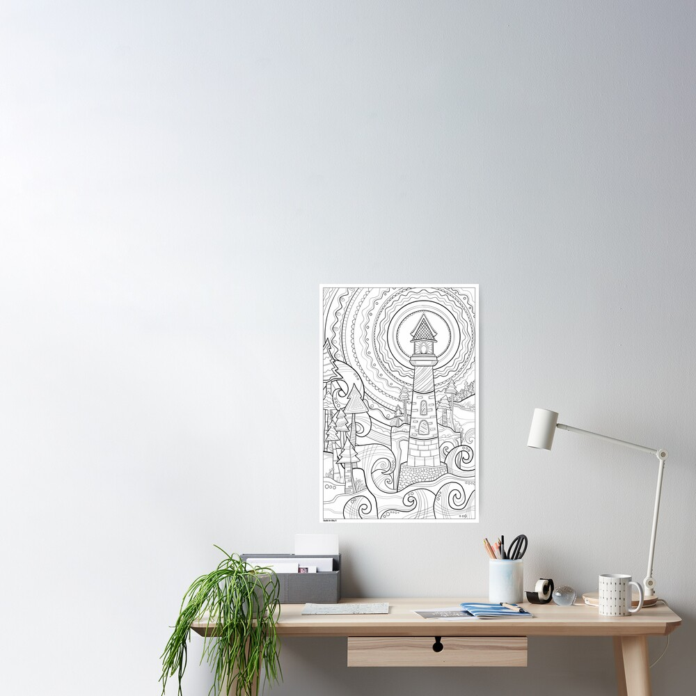 Lighthouse Coloring Art - Doodle Art Alley Poster Poster