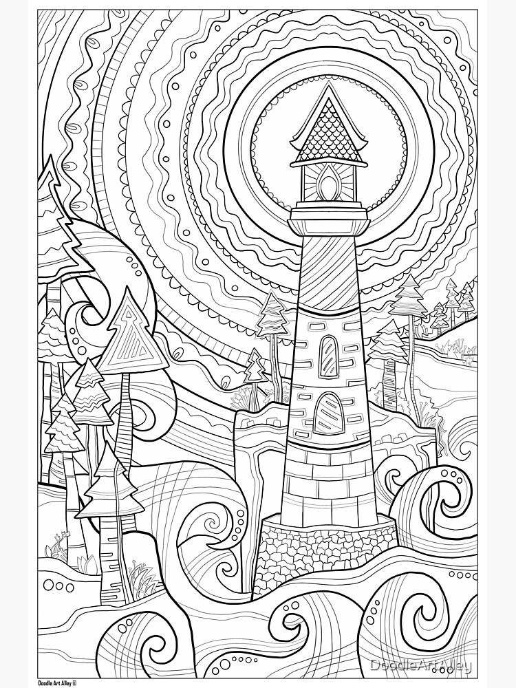 Lighthouse Coloring Art - Doodle Art Alley Poster by DoodleArtAlley