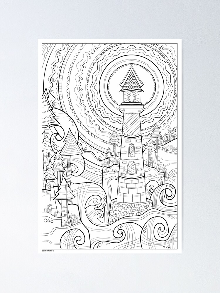 Alternate view of Lighthouse Coloring Art - Doodle Art Alley Poster Poster