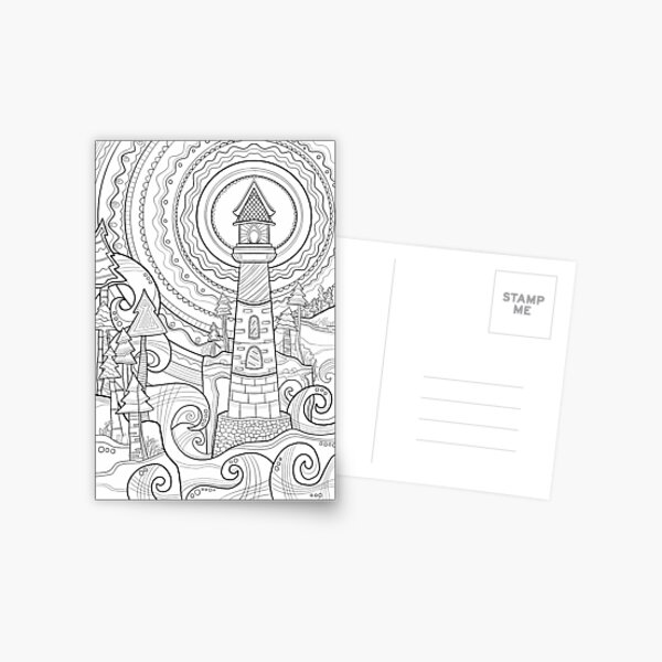 Lighthouse Coloring Art - Doodle Art Alley Poster Postcard