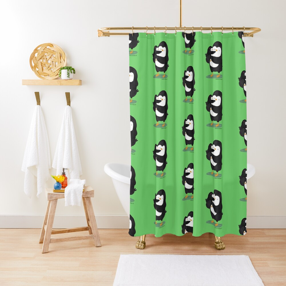 Dad Penguin with his daughter penguin Shower Curtain