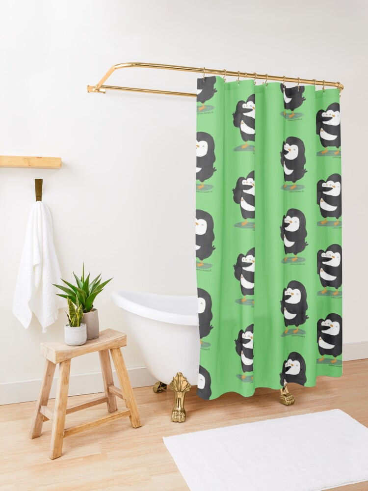 Alternate view of Dad Penguin with his daughter penguin Shower Curtain
