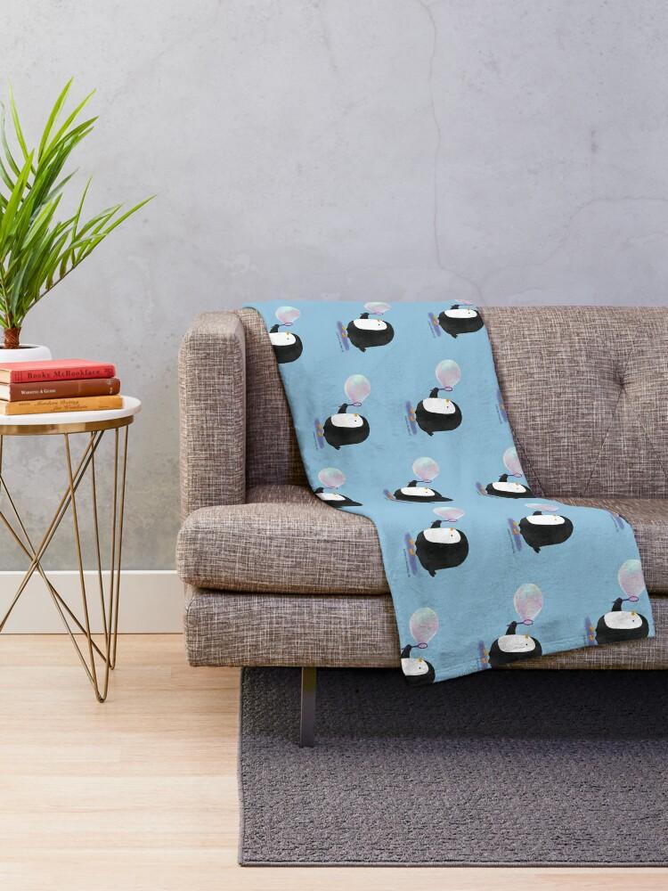 Alternate view of Bubbles Penguin Throw Blanket