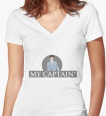 Captain Jack Harkness Women's Fitted V-Neck T-Shirt