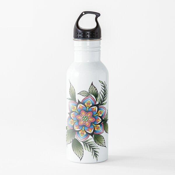 Floral mandala in spring colors  Water Bottle