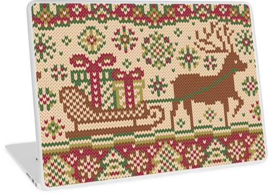 Knitted pattern with reindeer red/green by olgart