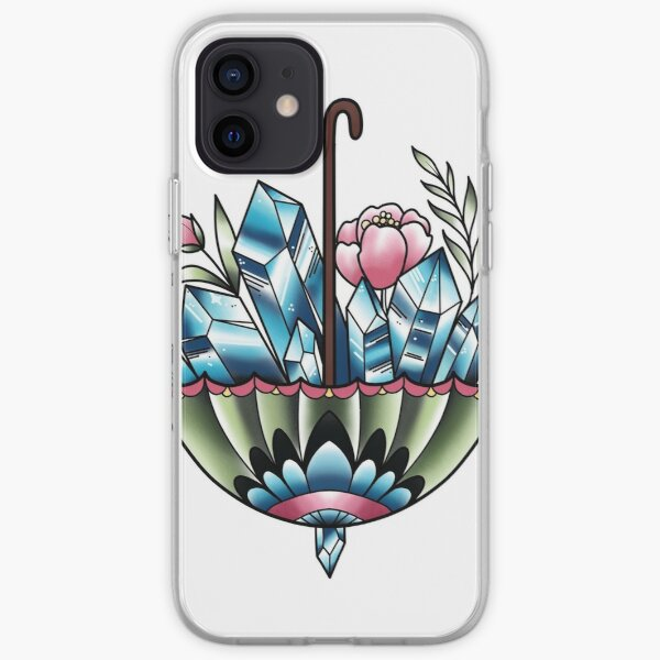 Umbrella with crystal and Flowers  iPhone Soft Case
