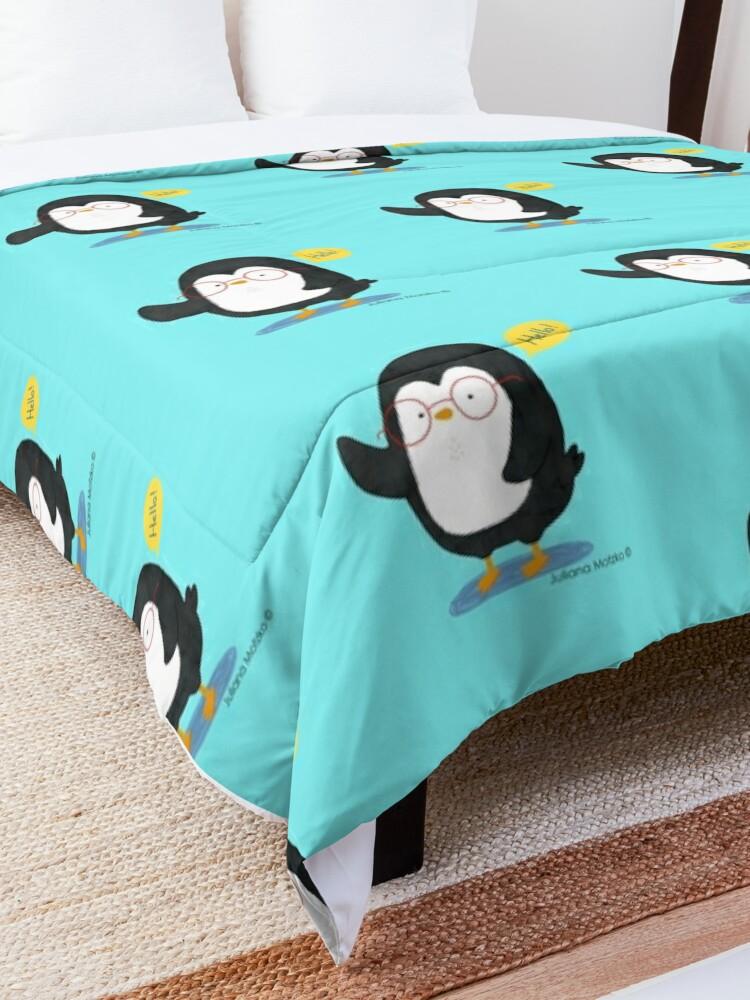 Alternate view of Albert Penguin wants to say Hello ! Comforter