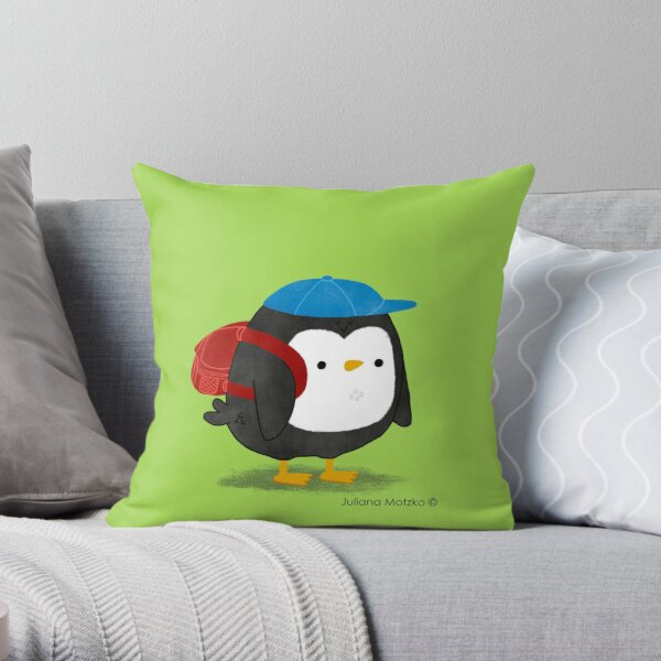 Jimmy Penguin goes to school Throw Pillow
