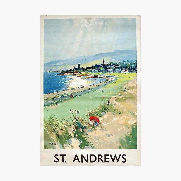 St Andrews vintage travel poster Photographic Print