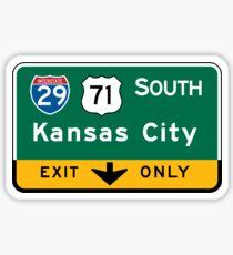Pegatina Kansas City, MO Road Sign, USA
