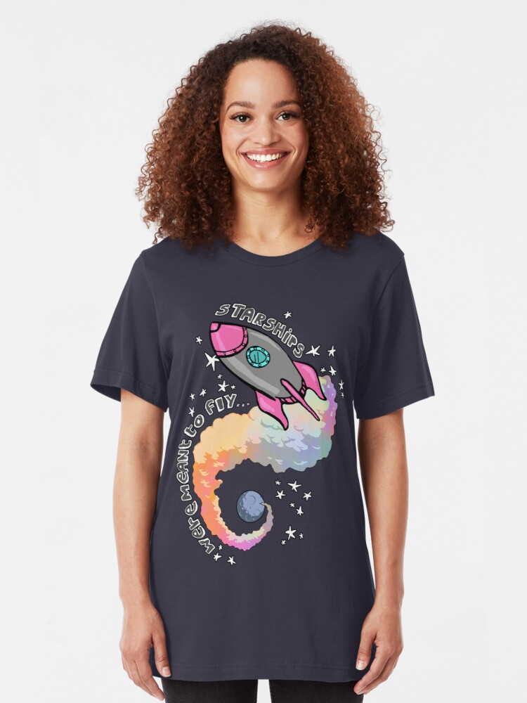Alternate view of Starships Were Meant To Fly! Slim Fit T-Shirt