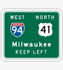 Milwaukee, WI Road Sign, USA Sticker