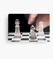 Chess 101: The knight moves to put the king in check Metal Print