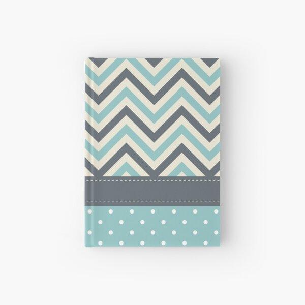 Cute Shabby Chevron Polka Dots Wallpaper Hardcover Journal