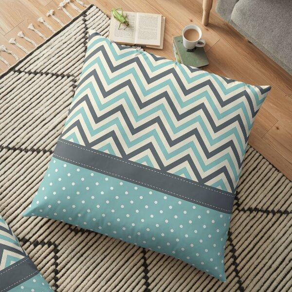 Cute Shabby Chevron Polka Dots Wallpaper Floor Pillow